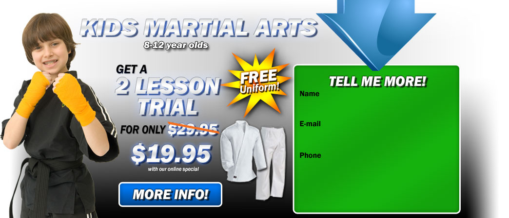 Kids Martial Arts Riverside get a 2 lesson trial for only $19.95!