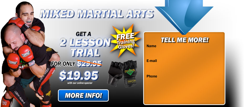 Mixed Martial Arts and kickboxing Riverside 2 lesson trial for $19.95!