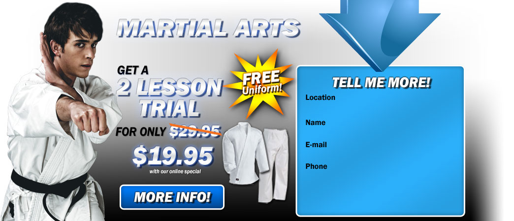 Martial Arts Adults and kickboxing  get a 2 lesson trial for only $19.95!