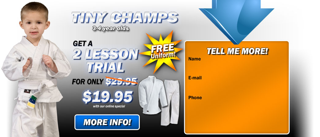 Get started with Karate Riverside Kids Martial Arts Tiny Champs for 3-4 year olds.