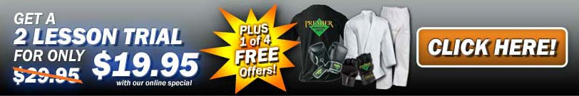 Try a Class Only $19.95 with one free offer at Premier Martial Arts Lawrence!